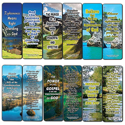 The Power of God's Righteousness Bible Bookmarks (30-Pack) - Stocking Stuffers Devotional Bible Study - Church Ministry Supplies Teacher Classroom Incentive Gifts