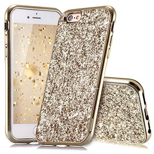 HUDDU Kompatibel mit iPhone 6 Hülle Glitzer iPhone 6S Handyhülle Bling Glitter Case Hart PC Bumper Hard Back Cover Abdeckung Sparkles Schutzhülle für iPhone 6s 4.7 Zoll Gold