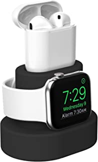 Moretek Charger Stand for Apple Watch 38mm 42mm 40mm 44mm iWatch Series 1 2 3 4 5 Apple Watch Charging Stand Holder, AirPods Accessory Charger Dock (Black)