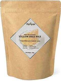 Heriyan 500g Beeswax Pellets Food Grade Pure Natural Cosmetics Materials for DIY Candles Lipstick Soaps