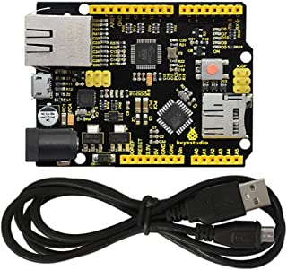 KEYESTUDIO W5500 Ethernet Development Board Module Accessory for Arduino Kits Support MicroSD Card w/USB Cable (No POE) Co...