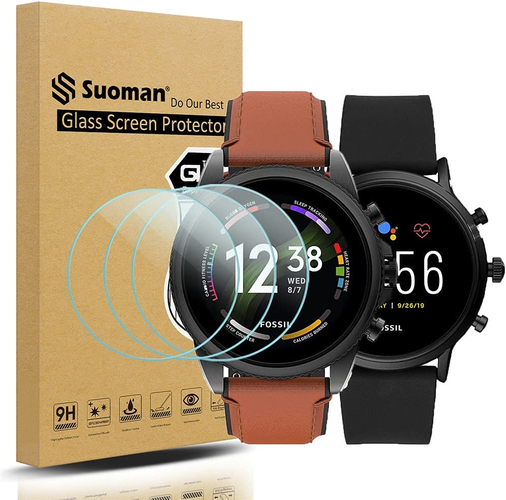 Suoman 3-Pack for Fossil Gen 5 Carlyle HR and Fossil Gen 6 Men Women Screen Protector Tempered Glass Fossil Gen 5 / Gen 6 Smartwatch [2.5D 9H Hardness] [Anti-Scratch]