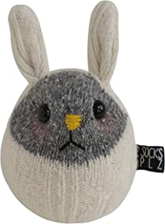 SOCKSPLZ, DIY Plush Animal Sock Toy Knit Rabbit Rattle Bunny. Arts & Craft DIY kit. Includes Sewing kit. for Ages 8 and up. Fun for Kids and Adults. (Knit Rattle Bunny DIY (White))