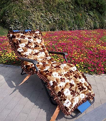 Lefran Coussin Chaise Lounger,Universel Épaissi Anti-Glisser Coussin De Chaise Pliante,Portable Lavable Coussins Inclinables Pad pour Intérieur Extérieur Patio R 52x160cm(20x63inch)