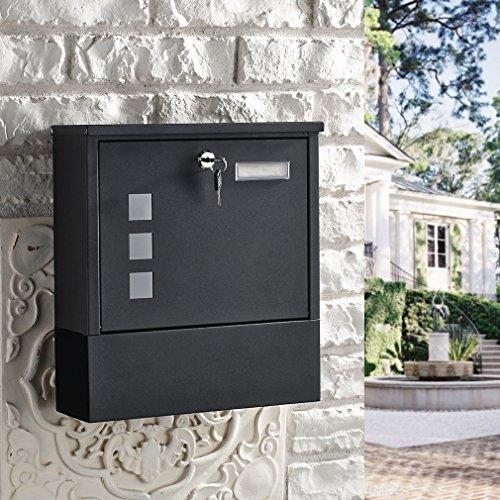 BONADE Briefkasten Wandbriefkasten mit Zeitungsfach Edelstahl Mailbox Zeitungsrolle Sichtfenster Einwurf Format A4 Wandbriefkasten abschließbar inkl. 2 Schlüssel (30cm x 33cm x 10cm)