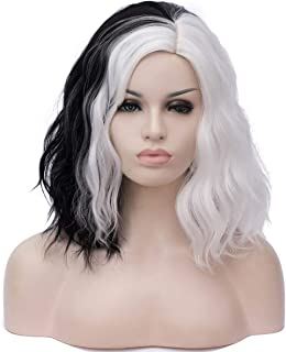 Mildiso Women's Short Curly Wigs Black White Cosplay Costume Wigs Full Heat Resistant Synthetic Wigs with Cap M058C