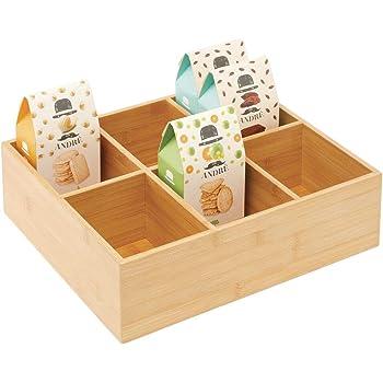 mDesign Caja para guardar té – Elegante caja organizadora con 6 compartimentos de bambú y tapa de acrílico – Caja de madera con tapa para infusiones, coladores, especias, etc. – color natural: Amazon.es: Hogar