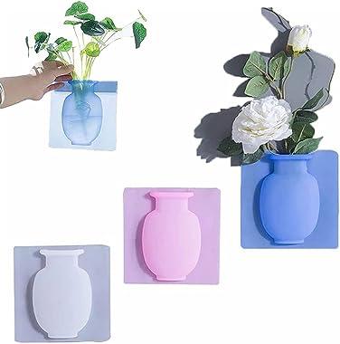 KCRPM 3/6 Pcs Magic Silicone Vase Sticker, Removable Silicone Flower Vase, Silicone Vases for Flowers Window, Wall-Mounted Re