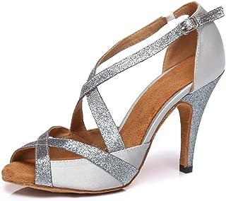 YKXLM Women's Professional Rhinestone Ballroom Wedding Dance Shoes Latin Salsa Performance Practice Dance Shoes,Model AUYCL386