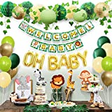 Sweet Baby Co. Jungle Theme Safari Baby Shower Decorations with Banner, Animal Centerpieces, Tropical Leaves, Greenery Garland, Lantern, Pom Poms, Oh Baby Balloons, Neutral Party Supplies for Boy Girl
