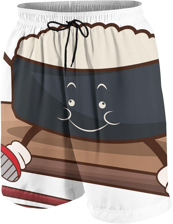 Tiogumg Boys Swim Trunks Kawaii Roll Sushi Oriental Beach Board Shorts Quick Dry Bathing Suit White
