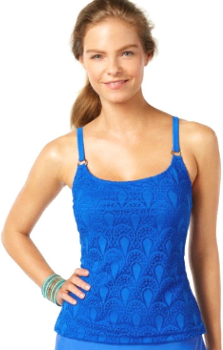Island Escape Crochet Tankini Top Women's Swimsuit Size Blue