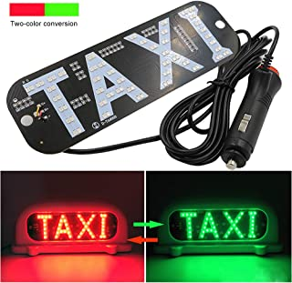 YSY LED Sign Decor, 2 Color Changeable Taxi Flashing Hook on Car Window with DC12V Car Charger Inverter Taxi Light Lamp Y (Taxi Sign, Cigarette Lighter)