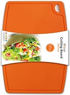 Liflicon Thick Silicone Cutting Board 12.6'' x 9.1'' BPA Free Juice Grooves Easy Grip Handle Non-Porous Dishwasher Safe-Orange