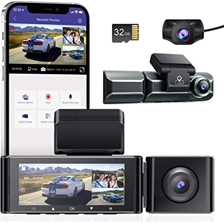 【36ヶ月保証&32GBカード付き】ドライブレコーダー 前後カメラ 3カメラ同時録画 4K 800万画質 360度全方位保護 【 wifi搭載 GPS】24時間駐車監視 ドラレコ 車内外同時撮影 スーパーキャパシタ搭載 SONY IMX415センサ WDR搭載 超強暗視機能 赤外線搭載 ノイズ/LED信号機対策 32GBMicroSDカード同梱 超広角 ドラレコ 車内外同時撮影 Gセンサー 動体検知 衝撃録画 /ループ録画/タイムラプス動画 日本語説明書 36ヶ月品質保証 (磁気ブラケット)AZDOME M550