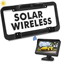 $129 » PORMIDO Solar Wireless Backup Camera License Plate with Monitor Kit 4.3 inch Universal Reverse Rear View Camera for Car Digital Stable Signal 170° Rearview Angle Easy Install No Wiring