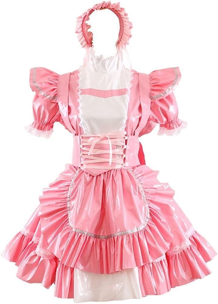 Genuine Gocebay Sissy Maid Free shipping on posting reviews Pink PVC Costume Uniform Dress