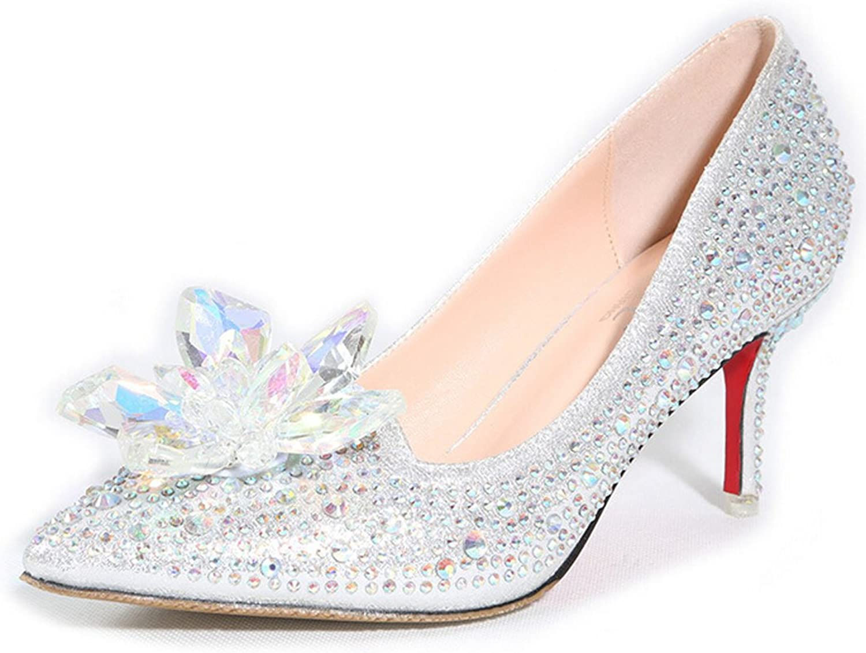 San hojas Heels Rhinestone Crystal shoes Cinderella Pumps