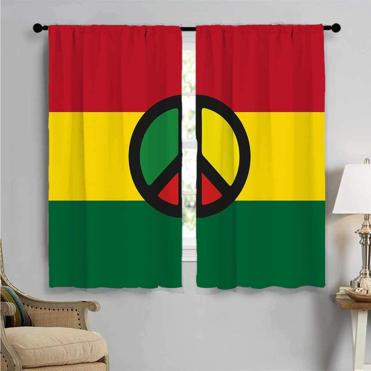 Blackout Window Brand new Curtain 2021 model Reggae Culture Peace Kids Room Artwork
