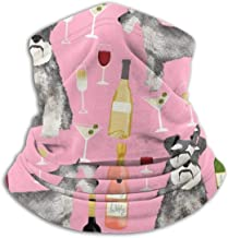 Schnauzer Dogs And Wine Design Cute Bubbly Pink Fleece Neck Warmer Heat Trapping Sun-Proof Neck Gaiter Tube Soft Elastic Balaclava Half Mask Unisex Windproof Ski Neck Gaiter Cover For Winter Skiing R