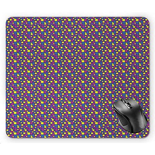Mau Mat,Abstrakte Kleine Und Größere Quadrate In Den Vibrierenden Tönen Färben Dunkle Magentarote Azurblaue Blaue Und Blaue Violette Mausunterlage Gelb 30X25Cm