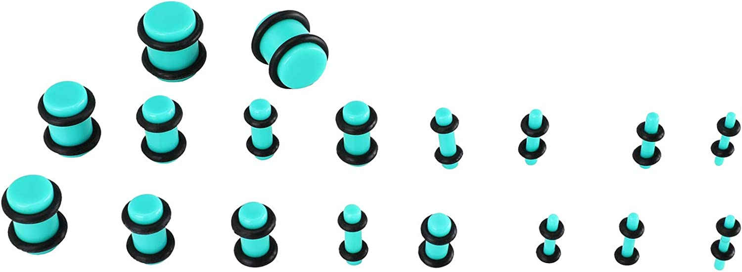 LERMITY Acrylic Ear Stretching Kit 14G-00G Ear Gauges Expander Set Acrylic Tapers and Plugs Silicone Tunnels Body Piercing Jewelry Set