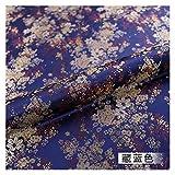 VIAIA Tela de Seda de Brocado Telas de Flores de satén para Material de Costura para Tela de Vestido de Bricolaje (Color : Deep Blue, Size : 50x75cm)