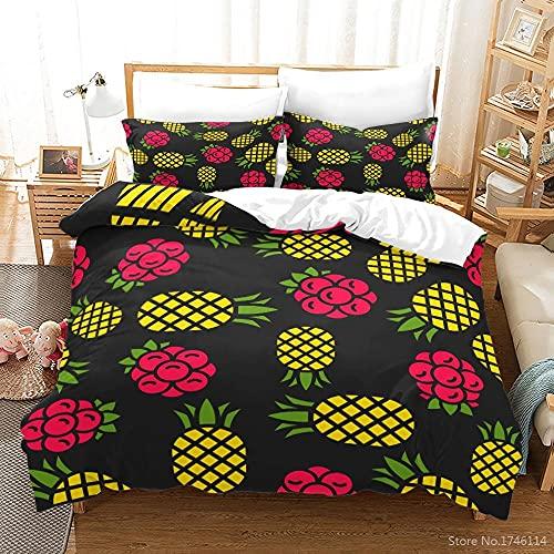 Fundas Nordicas Cama 105 200x200 cm Piña Amarilla Ropa De Cama con 2 Funda de Almohada 50x75 cm para Adultos Adolescentes ( 110gsm Microfibra Suave )