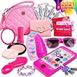 Peertoys Kids Makeup Kit Girls Purse - Cute Pretend Cosmetics Mini Bag Toy Cell Phone Wallet Money Credit Card Accessories Kit Gifts Baby Girl Princess Toddler Ages 3,4,5,6,7,8,9,10,11,12 Years Old