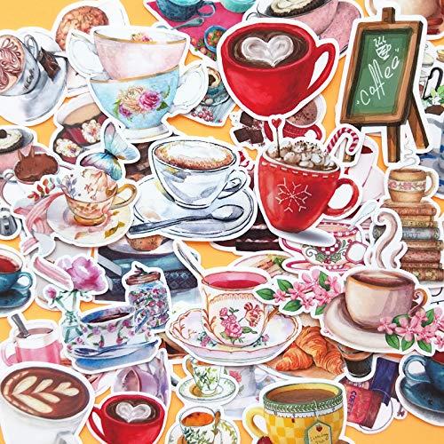 BLOUR 38PCS Kaffeetasse Aufkleber Basteln und Scrapbooking Aufkleber Kinderspielzeug Buch Dekorative Aufkleber DIY Briefpapier