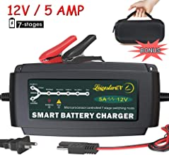 LST 12V 5A Automatic Battery Charger Maintainer Smart Deep Cycle Battery Trickle Charger for Automotive Car Boat Motorcycle Lawn Mower Marine RV SLA ATV AGM GEL CELL WET& FLOODED Lead Acid Battery