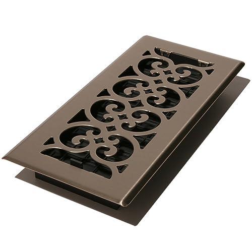 Decor Grates SPH410-NKL Scroll Floor Register, Brushed Nickel Finish, 4 x 10-Inch