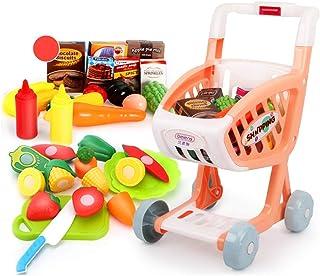 子供のおもちゃのショッピングカート 男性と女性の遊び家のおもちゃセット 2-6歳のスーパーマーケットのトロリーのおもちゃ シミュレーションキッチンおもちゃセット 子供のための誕生日プレゼント (Color : Pink, Size : 34*30.5*55cm)