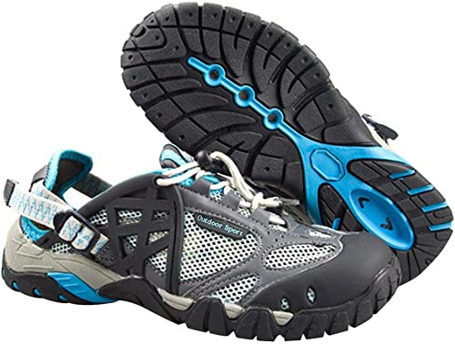 DSX Chaussures Imperméables Neutres Randonnée en Plein Air Escalade Sandales Sandales Sport Course Chaussures de Gué, Bleu, 35EU