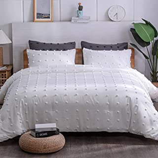 Paxrac Tufted White Queen Comforter Set (90x90 inches), 3 Pieces- Soft Cotton Jacquard Lightweight Comforter with 2 Pillow...