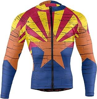 Distressed Arizona State Flag Men's Cycling Jerseys Biking Shirts Long Sleeve Bike Clothing Full Zipper Bicycle Jacket