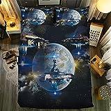 Yinghesheng Funda Nórdica Ropa de Cama Star Wars Space Moon Series 3D Astronave Impresión Fundas para Edredón Cama Individual,Cama Matrimonio con Funda de Almohada,230x260cm