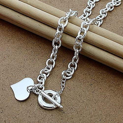MIKUAF Collar Plata de 18 Pulgadas corazón/Mariposa/Estrella/Redondo/Collar con Colgante de Perro para Mujer Hombre Regalo de joyería de Boda de Moda
