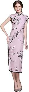 HangErFeng Women's Qipao Ramie Printed Classical Fashion Slim Pink Long Cheongsam