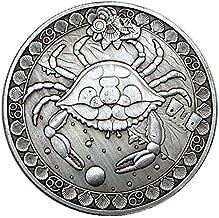 IVLWE 12 Constellation Commemorative Coins Aries/Taurus/Gemini/Cancer/Leo/Virgo/Libra/Scorpio/Sagittarius/Capricorn/Aquarius/Pisces Souvenir Arts Collection-1 PCS (Cancer)
