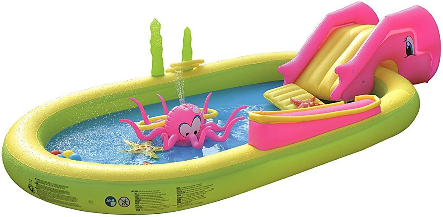"""Jilong Giant Inflatable Sea Animal Kiddie Play Pool  Inflatable Pool for Kids  Complete with Pool Accessories and Water Activities  117"""" X 65"""" X 22"""""""