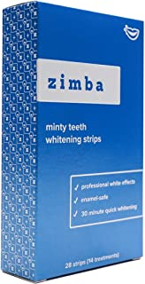 Zimba Professional Teeth Whitening Strips - 28 Strips, 14 Treatments - With Natural Mint Oil - Enamel-Safe, Reduced Sensitivity, Advanced Formula - Non-Slip, Premium Grip Technology (Mint)