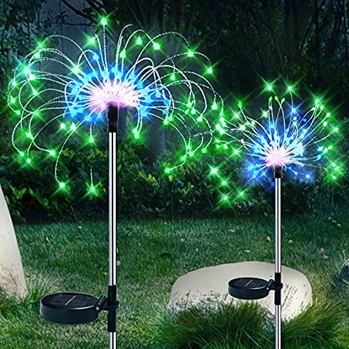 Paquete de 2 luces solares para exteriores, decorativas para jardín, luces de fuegos artificiales, luces de bricolaje, para decoración de fiestas en el patio trasero (120L-3 colores blanco)