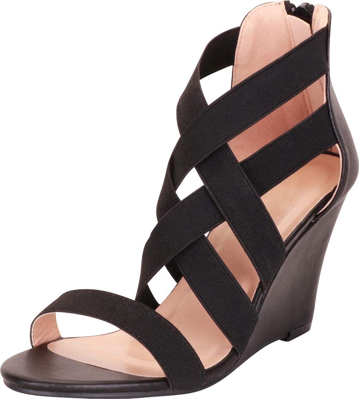 Cambridge Select Women's Crisscross Strappy Lattice Wedge Sandal