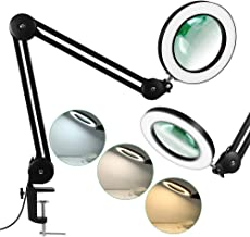 LANCOSC Magnifying Glass with Light for Close Work, 5-Diopter, 3 Color Modes, Stepless..