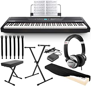 Alesis Recital Pro 88-Key Digital Piano with Hammer-Action Keys + DJ Headphones + Pedal + Bench + Stand + MORE