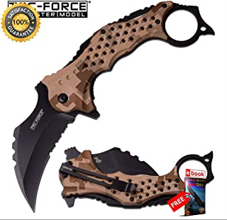 SPRING ASSISTED FOLDING Sharp KNIFE Tac-Force 3'' Black Serrated Blade Tan Camo Karambit Combat Tactical Knife + eBOOK by Moon Knives