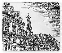 パリのマウスパッド、木とエッフェルで有名なパリの街並みをスケッチ、有名な街の風景の建築プリント、標準サイズの長方形の滑り止めのゴム製マウスパッド、ブラックホワイト