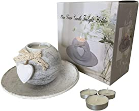 LUXE HomeGift - Candle Holder - with Tealight Candles and Plate - Love Heart Design - Birthday Gift Idea for Her, Wife, Gi...