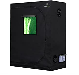 "CoolGrows Grow Tent, 48""x24""x60"" Mylar Hydroponic Grow Tent with Observation Window and Floor Tray for Indoor Gardening Plant Growing (48""x24""x60"")"